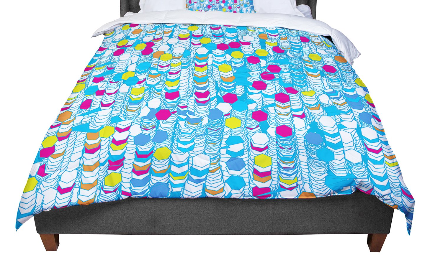 KESS InHouse Frederic Levy-Hadida 'Color Hiving' Blue Abstract Twin Comforter, 68' X 88' 68 X 88 FH1016ACF01