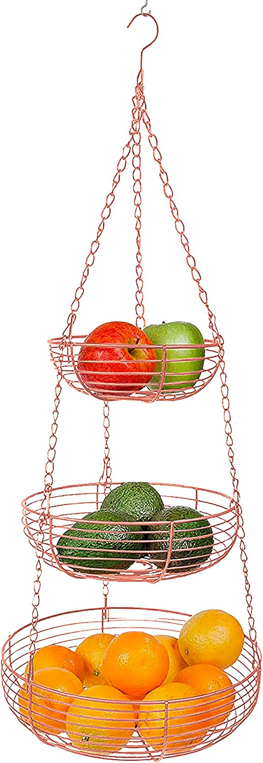 Home Intuition 3-Tier Hanging Fruit Produce Basket Heavy Duty Wire with 2 Metal Ceiling Hooks, Round, Copper