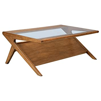 Mid Century Modern Retro Wood Coffee Occassional Table With Integrated  Magazine Display Shelf And Tempered Glass