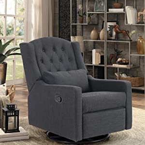 ALPHA HOME Recliner Chair Living Room Chair Ergonomic Glider Chair Rocking Reclining Sofa for Elderly Back Pain Fabric Upholstered Lounge Adjustable Club Home Theater Seat with 4 Positions (Black)