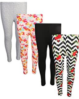-Multiple Colors-4-5 Years Indistar Little Girls Cotton Full Ankle Length Solid Leggings Pack of 6