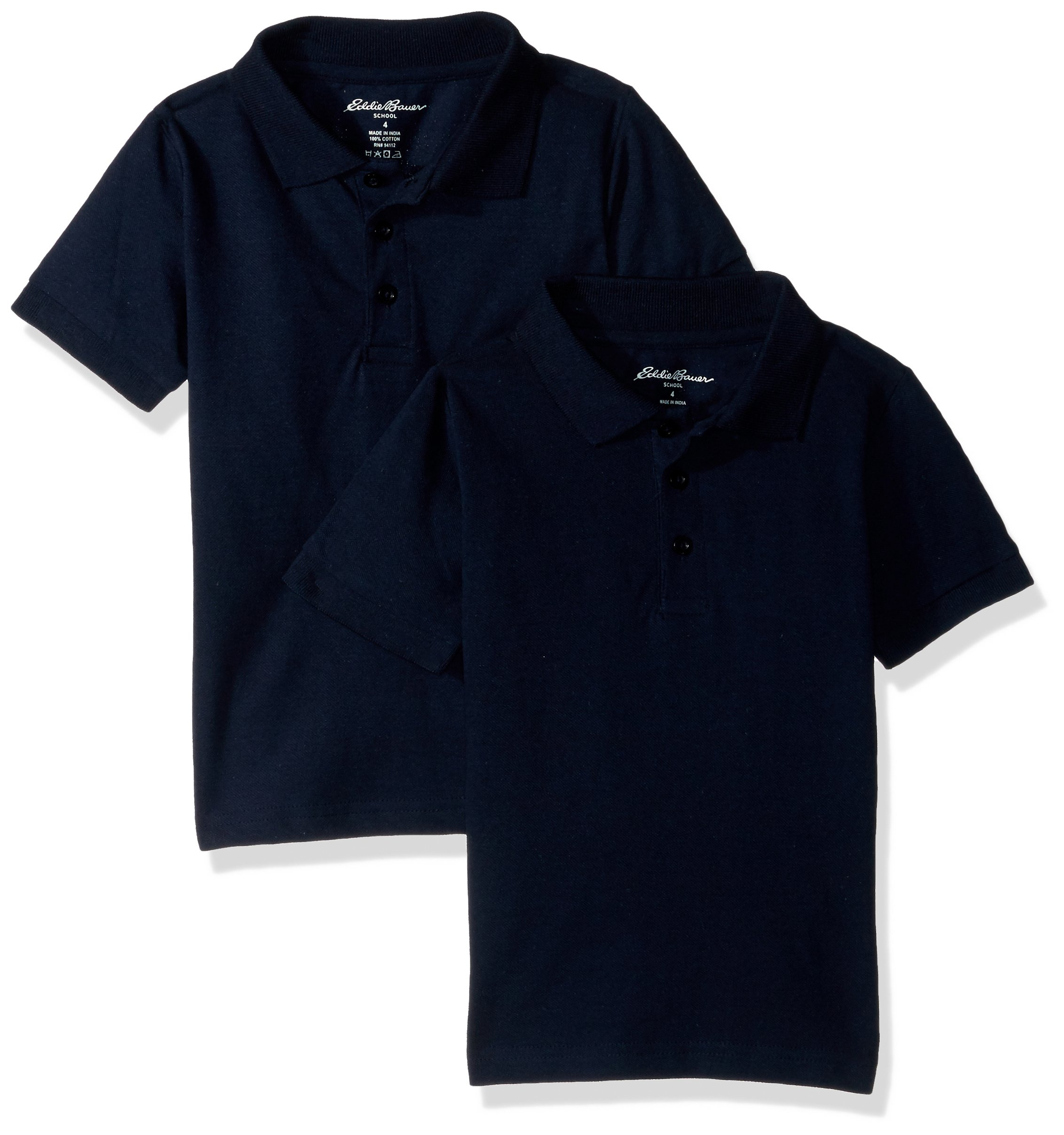 Eddie Bauer Boys' 2 Pack Polo Shirt (More Styles Available), Bright Navy Blue, 14/16