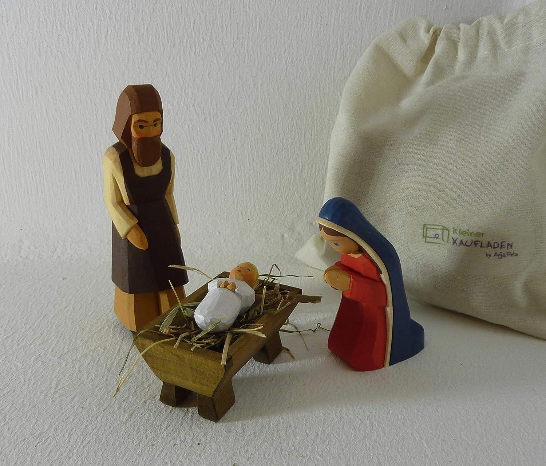 Lotte Sievers-Hahn Heilige Familie Set Maria, Josef lfd, Kind blond 2tlg Set 3 Krippenfigur mit Baumwollbeutel