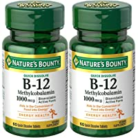 Natures Bounty Methylcobalamin B12 Microlozenge Tablets, 1000 mcg, 120 Count (2...