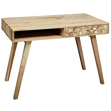 Finebuy Schreibtisch Rawi 115x77x60 Cm Akazie Massivholz Pc Tisch