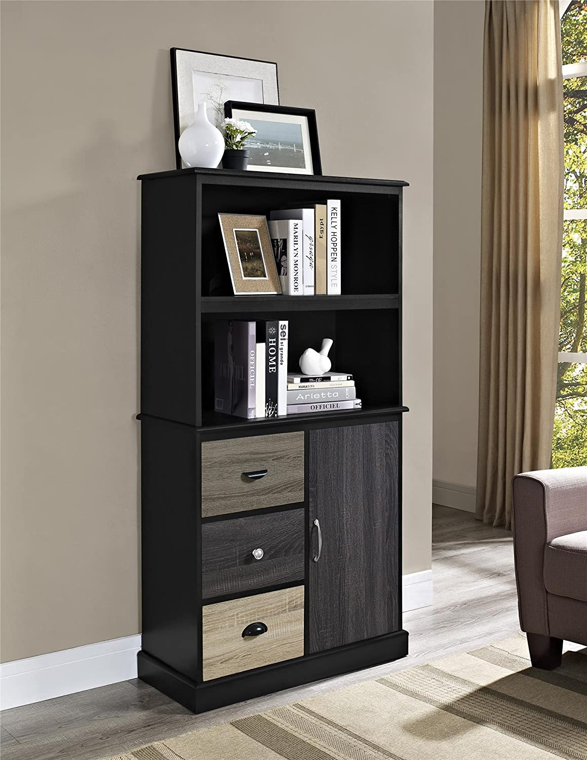 Perfect Amazon.com: Ameriwood Home Blackburn Storage Bookcase With Multicolored  Door And Drawer Fronts (Black): Kitchen U0026 Dining