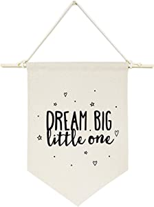 The Cotton & Canvas Co. Dream Big Little One Hanging Wall Canvas Banner for Baby Girl, Baby Boy, Nursery, Teen and Kids Room