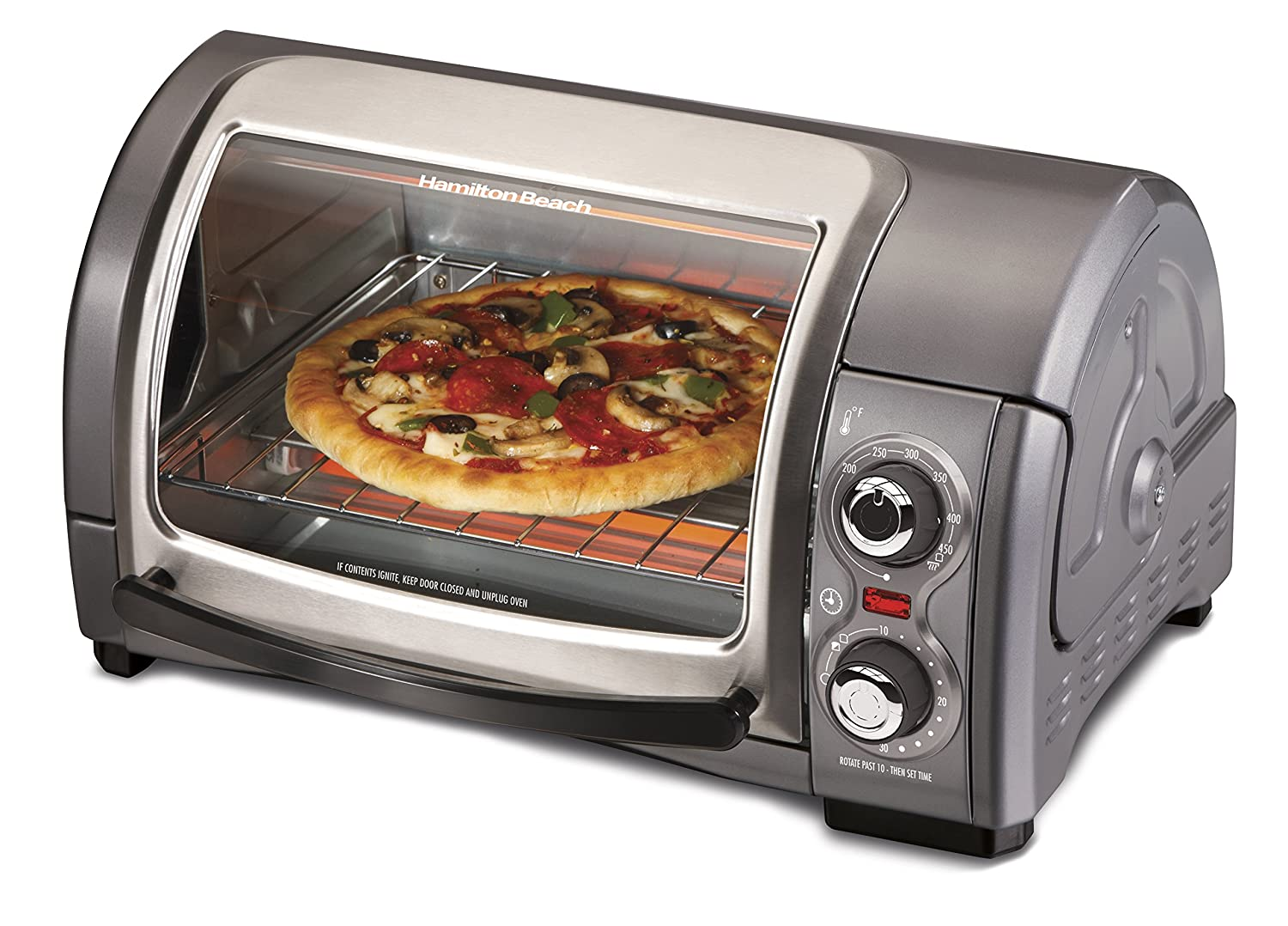 Hamilton Beach Easy Reach Toaster Oven, Metallic (31334)