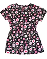 Divine Fashion Scrubs Top - Black with Pink Floral Pattern - Size: XS