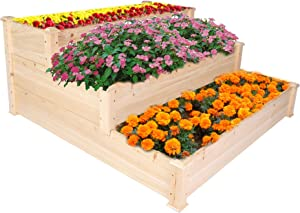 Vilobos 3 Tier Wooden Raised Garden Bed Solid Wood Elevated Planter Box for Vegetable Herbs and Flowers