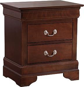 "Glory Furniture Louis Phillipe , Cappuccino Nightstand, 24"" H X 22"" W X 16"" D"