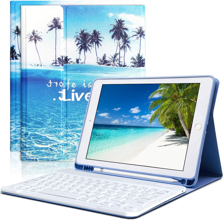 iPad Keyboard Case 9.7 for iPad 2018 (6th Gen) iPad 2017 (5th Gen) iPad Pro 9.7 iPad Air 2 Air 1 with Pencil Holder Bluetooth Wireless Detachable Keyboard Case