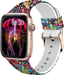 TSAAGAN Silicone Pattern Printed Band Compatible for Apple Watch Band 38mm 42mm 40mm 44mm, Floral Soft Sport Replacement Strap Wristband for iWatch Series 6/5/4/3/2/1 (Jellyfish, 38mm/40mm)