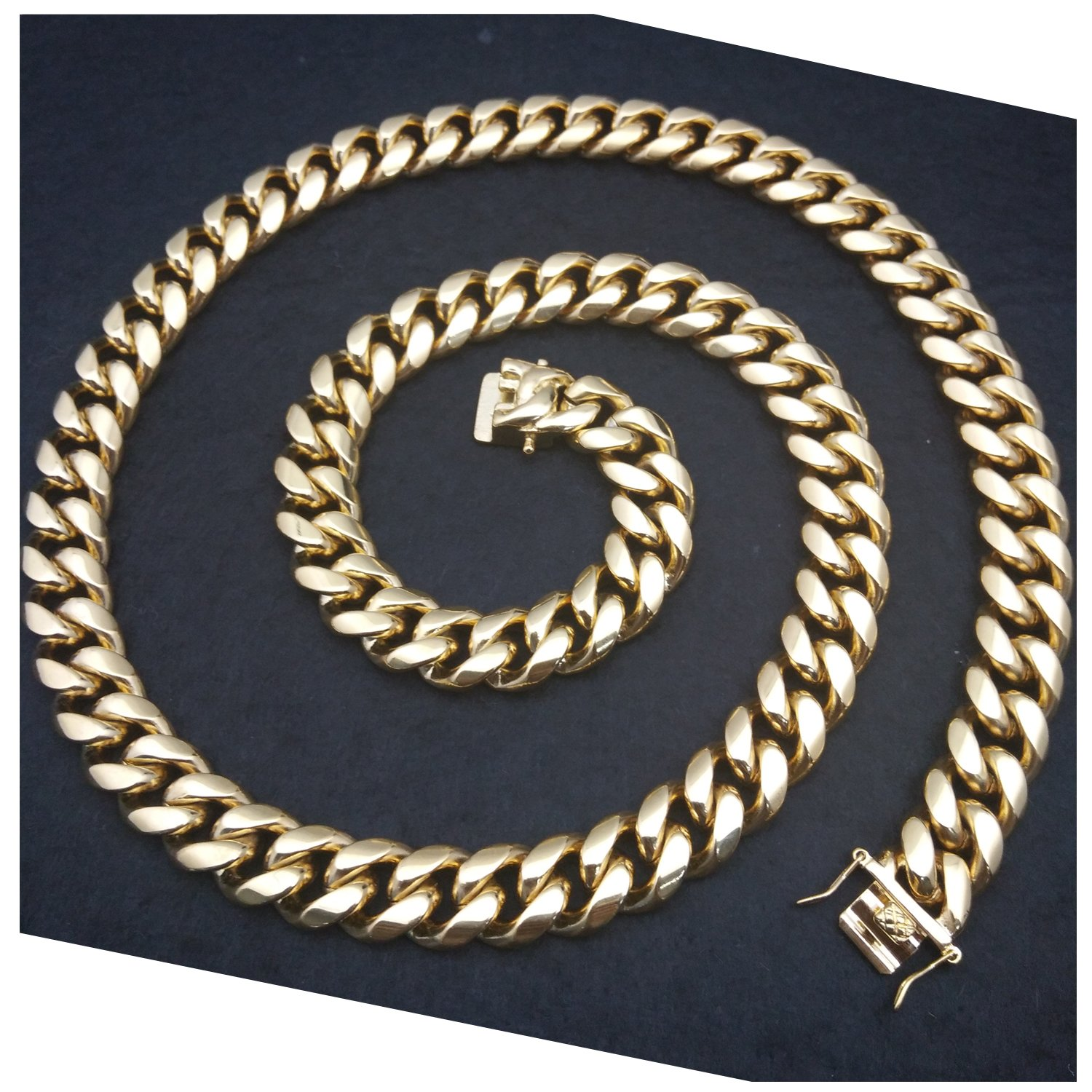 Gold Chain Necklace 12MM,Heavy 24K Smooth Miami Cuban Link Solid Premium Men Pendant Jewelry (24)