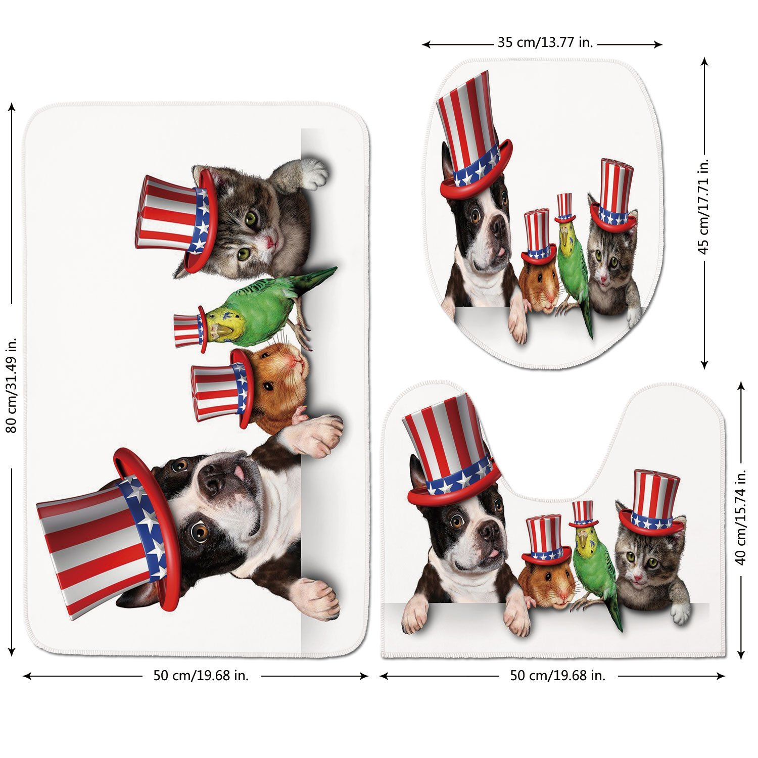 3 Piece Bathroom Mat Set,Fourth-of-July,Cute-Pet-Animal-Dog-Cat-Bird-and-Hamster-with-American-Hat-Celebration-Image-Decorative,Multicolor.jpg,Bath Mat,Bathroom Carpet Rug,Non-Slip