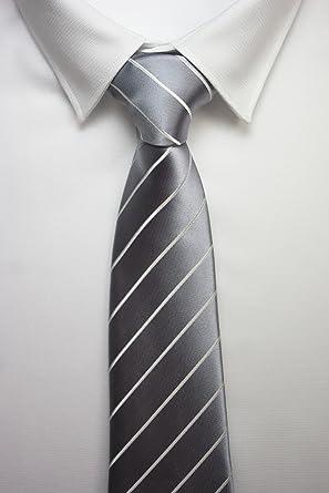 corbata fina linea blanca gris: Amazon.es: Ropa y accesorios