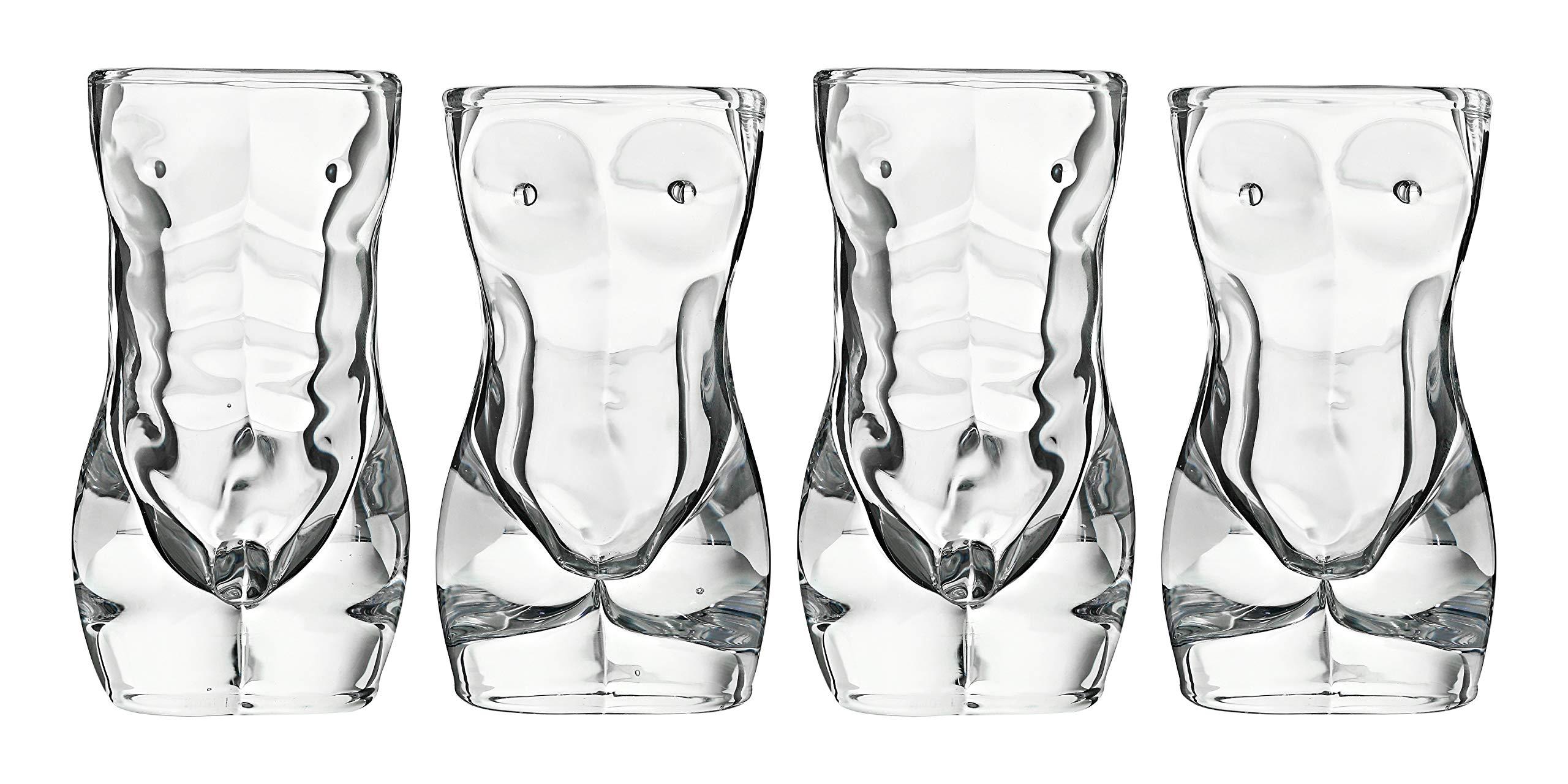 Sexy Exotic Adult Shotglasses, 2 Male + 2 Female per set by SFL Industries