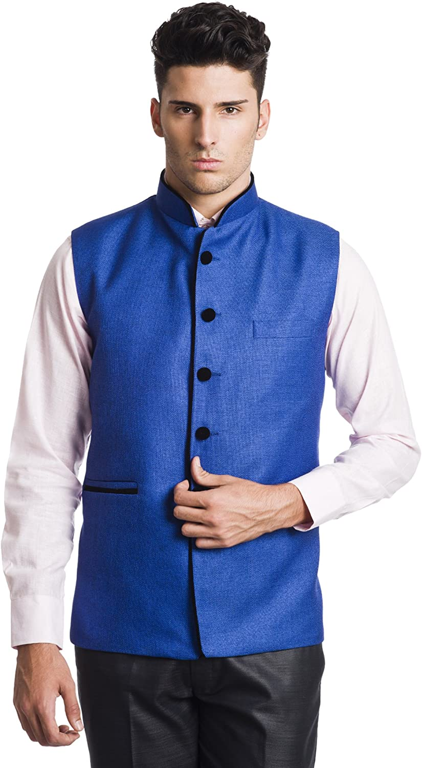 WINTAGE Men's Polyester Cotton Bandhgala Nehru Vest Waistcoat - Four Colors,