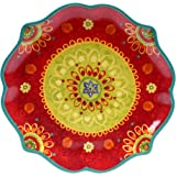 "Certified International 22454 Tunisian Sunset Round Scallop Shaped Platter, 13.25"", Multicolor"