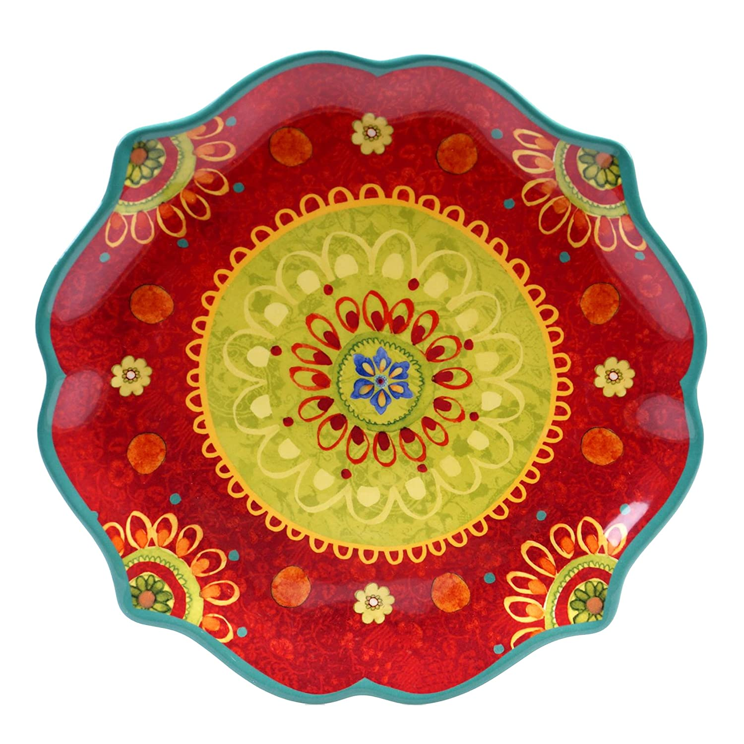 Certified International 22454 Tunisian Sunset Round Scallop Shaped Platter, 13.25