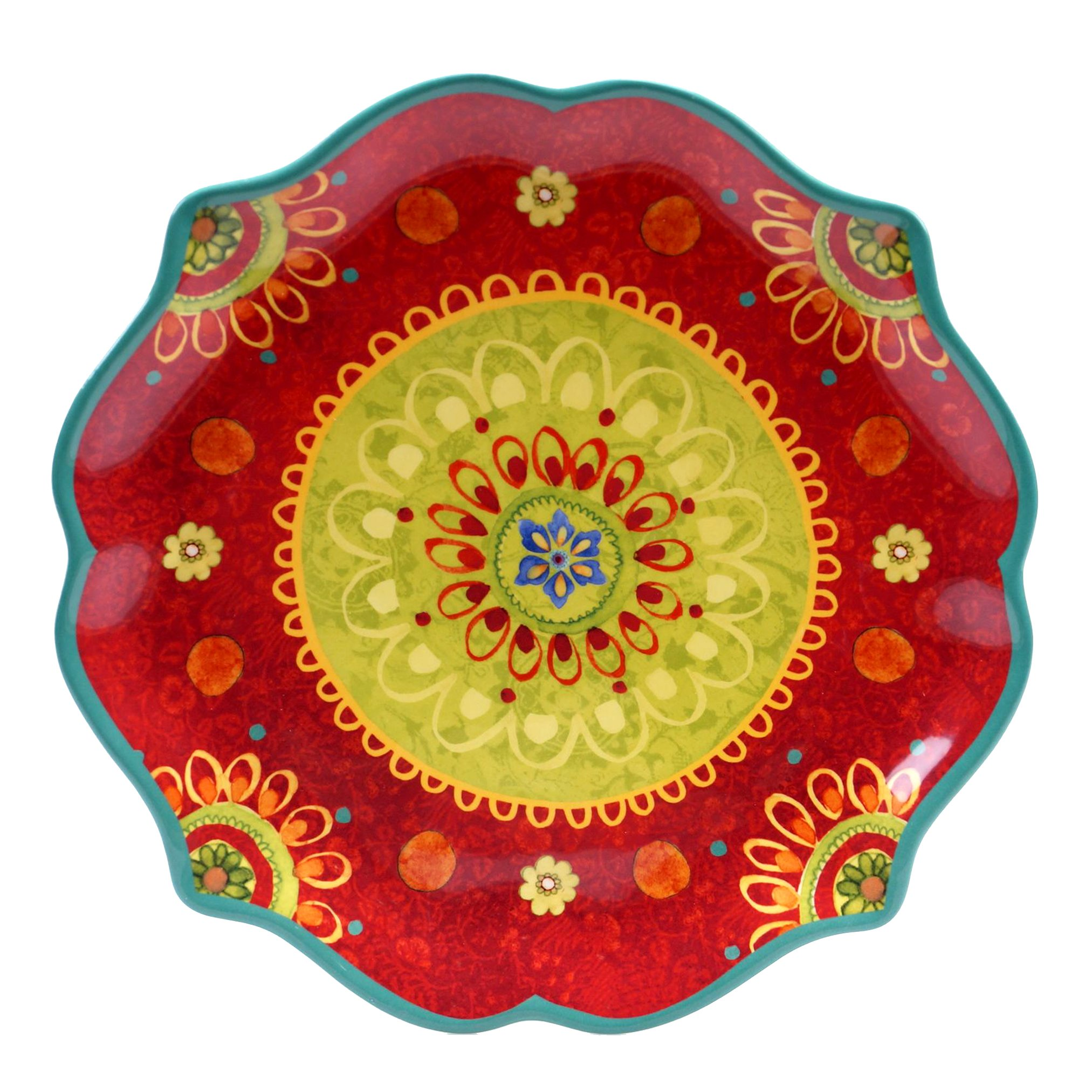 Certified International 22454 Tunisian Sunset Round Scallop Shaped Platter, 13.25'', Multicolored