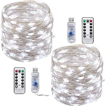 LED cadena de luces,Tonskooners[2 Pack] Luces de Cadena LED USB 10m, 100 LEDs, 8 modos de Iluminación guirnalda de luces(blanco frío con control remoto): Amazon.es: Iluminación