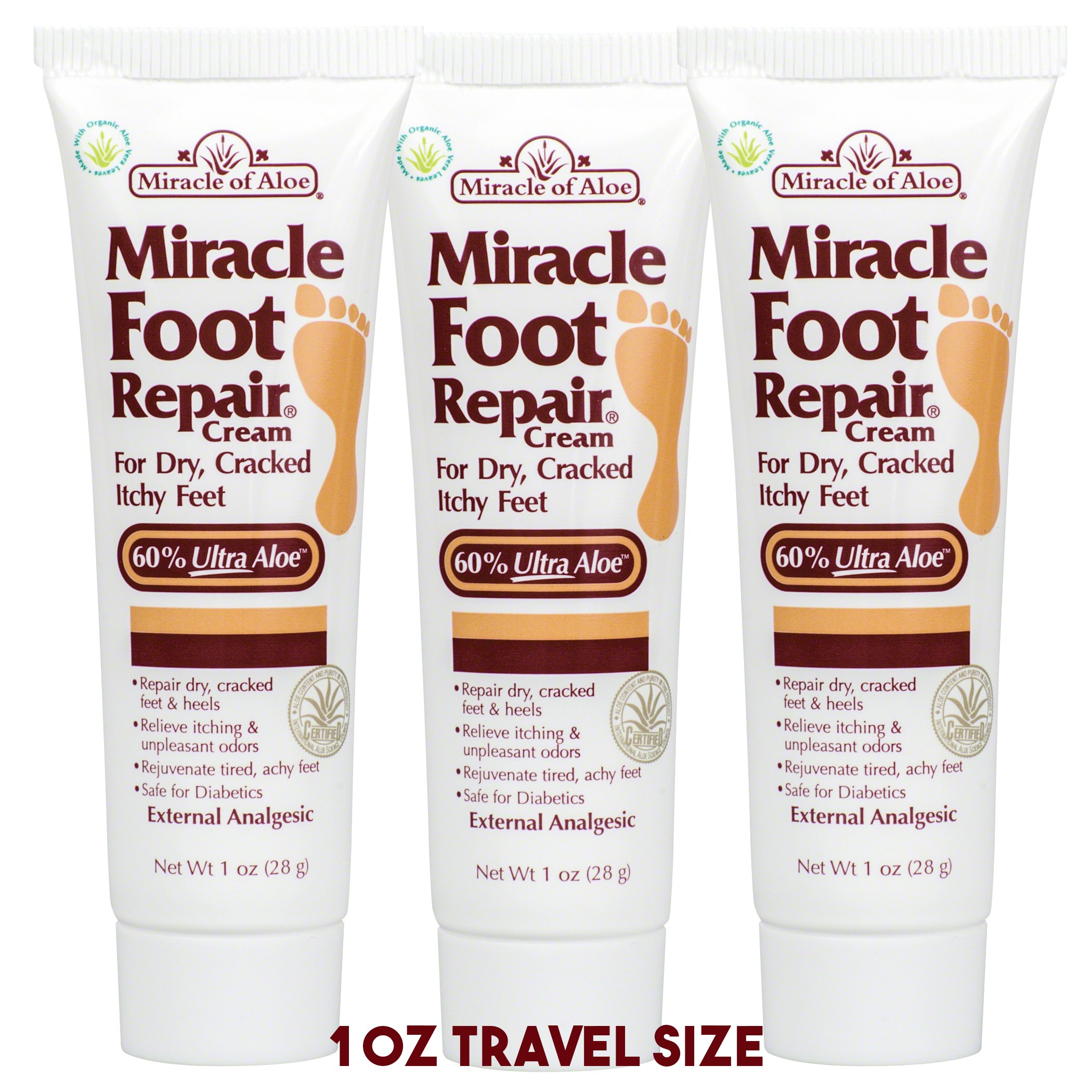 Miracle Foot Repair Cream 1 oz - 3 Pack with 60% Pure Organic Aloe Vera Softens Dry Cracked Feet.