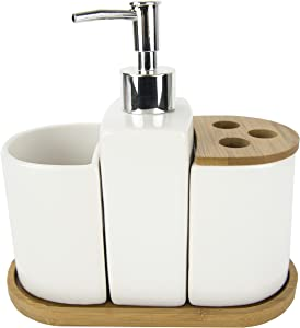 Home Basics Ceramic Bamboo WH 4PC Bath Set, White