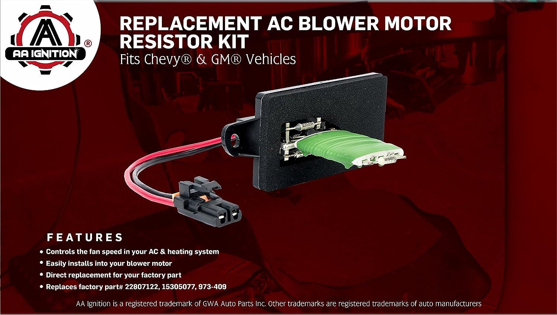 Fits Cadillac Escalade HVAC Blower Motor Fan Resistor Kit /& Harness for Manual A//C Controls- Replace# 22807122 Silverado 15305077 GMC Sierra Chevy Avalanche XL 1999-2007 Tahoe 973-409 Yukon