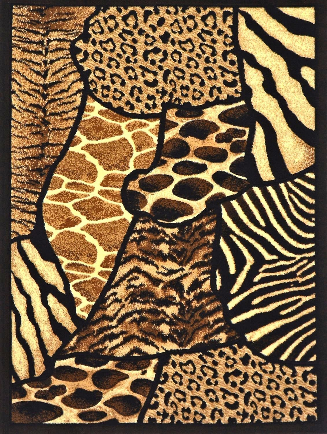 Rugs 4 Less Collection Animal Skin Prints Patchwork Leopard Area Rug R4L 70 (8'X10')