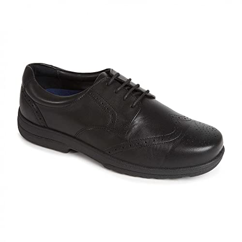 Padders DOMINIC Mens Leather Extra Wide Plus Brogue Shoes Black B01NBTB8RI
