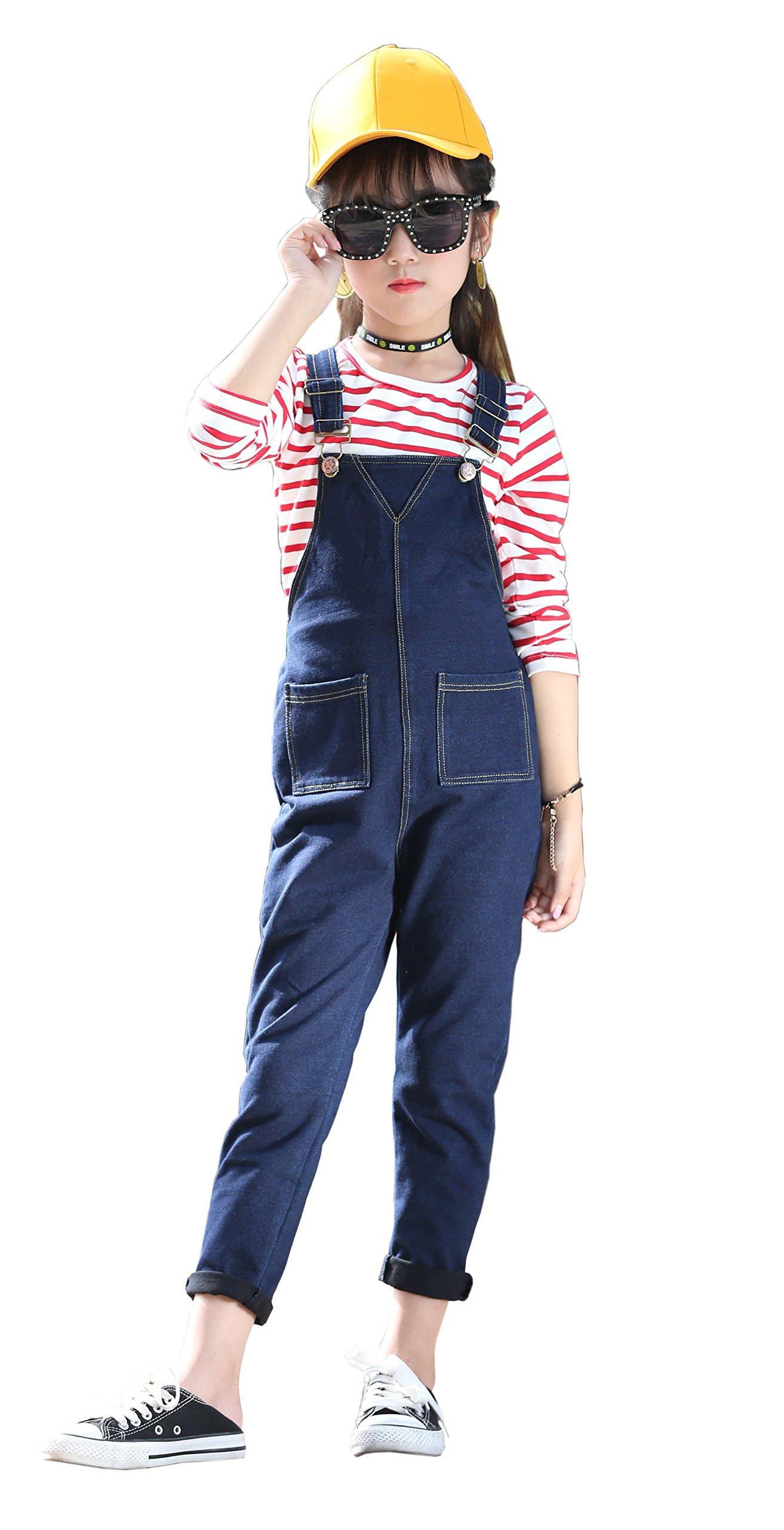 Girls Big Kids Denim Overalls Smiley Face Strecthy Long Rompers Dark Blue 160