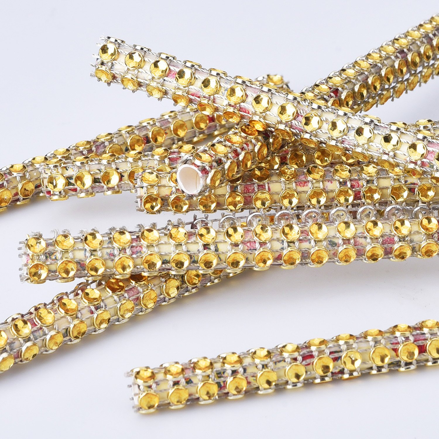 eBoot 4 Row 10 Yard Acrylic Rhinestone Diamond Ribbon for Wedding Cakes Birthday Decorations Baby Shower Events and Arts and Crafts Projects Gold