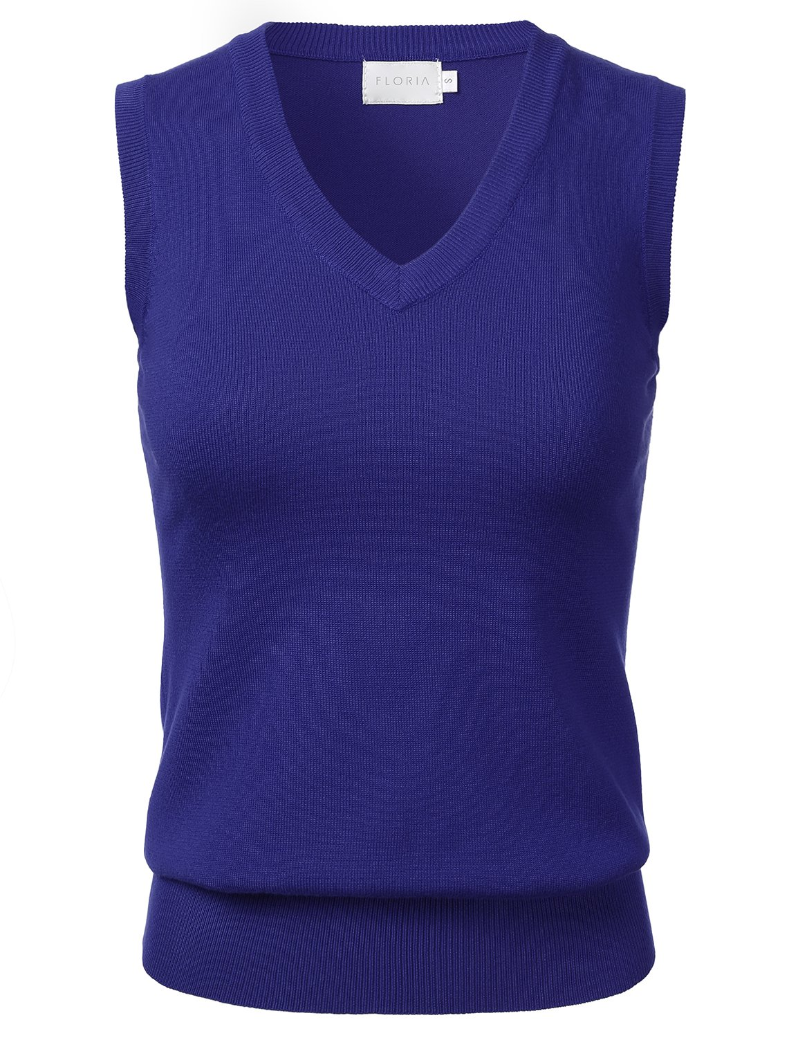FLORIA Women Solid Clssic V-Neck Sleeveless Pullover Sweater Vest Top Royalblue M