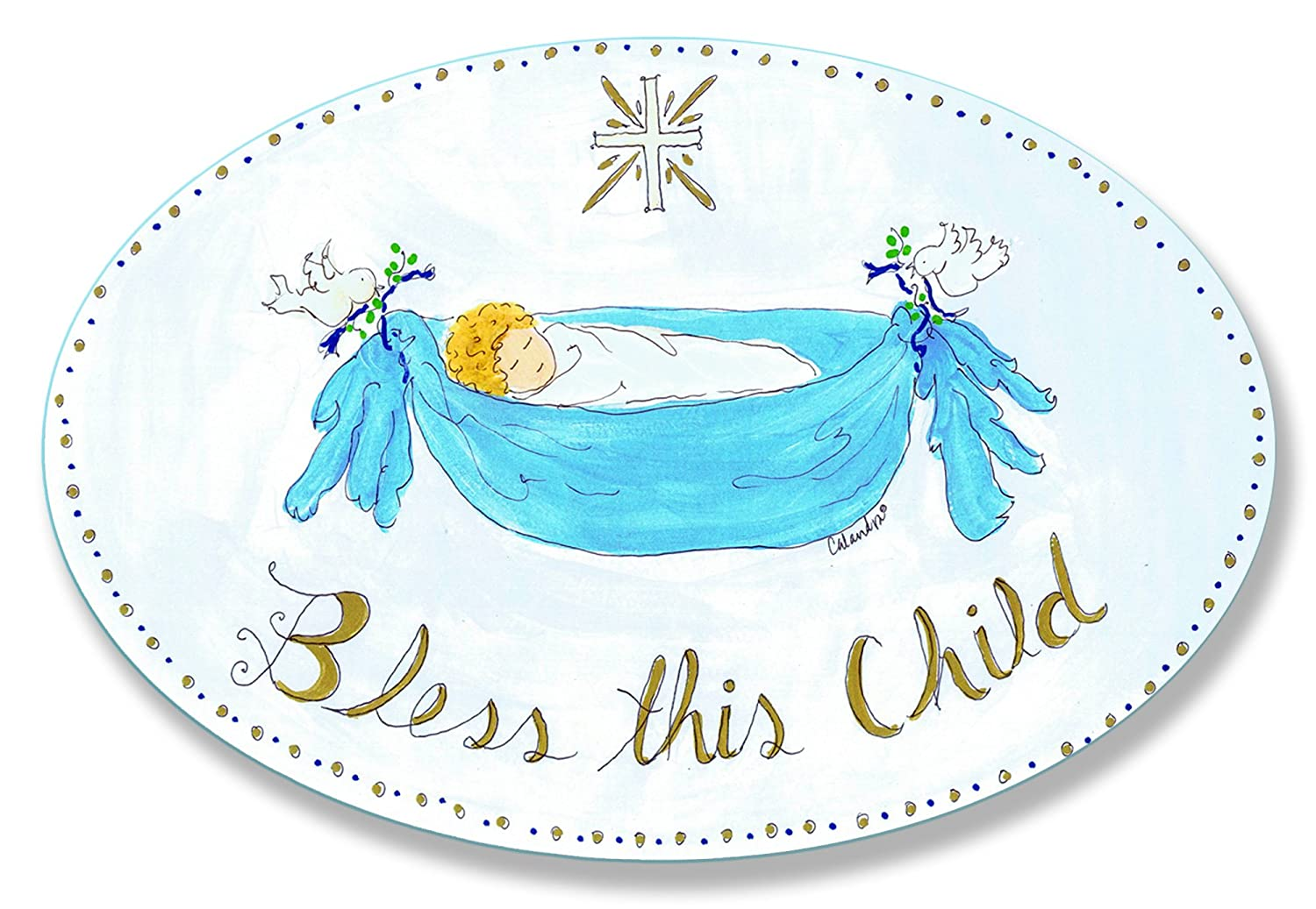 The Kids Room by Stupell Bless This Child with Baby in Blue Hammock Oval Wall Plaque brp-754