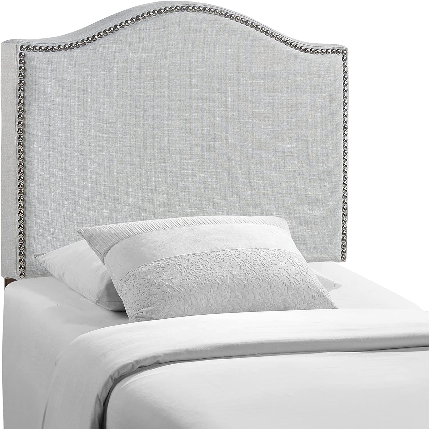 Headboard Fabric Upholstered Modern Heavy Duty Queen Size With Gray Linen Curved