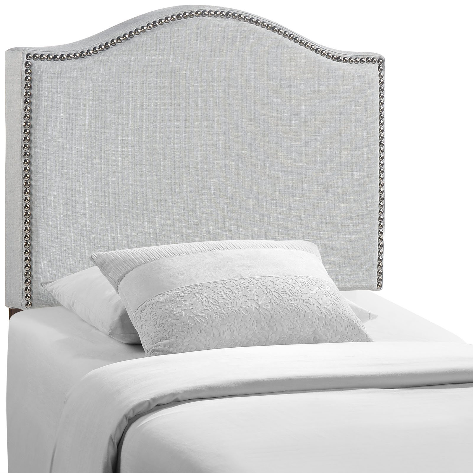 Modway Curl Linen Fabric Upholstered Twin Headboard with Nailhead Trim and Curved Shape in Gray by Modway
