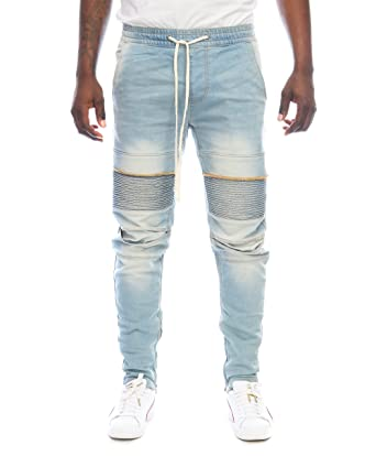 81a24fac Kayden K Men's Stretch Ankle Zip Moto Jogger Denim Jeans at Amazon Men's  Clothing store: