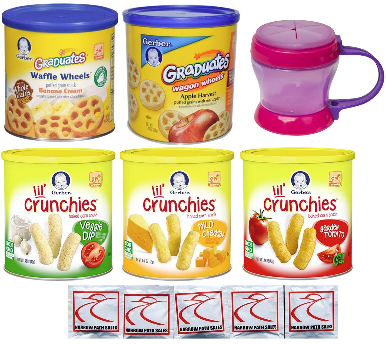 Gerber Graduates Baby Food Snacks - Lil Crunchies and Gerber Waffle and Wagon Wheels Variety Pack with Carrying Cup - Bundle of 5 Flavors by Narrow Path Sales