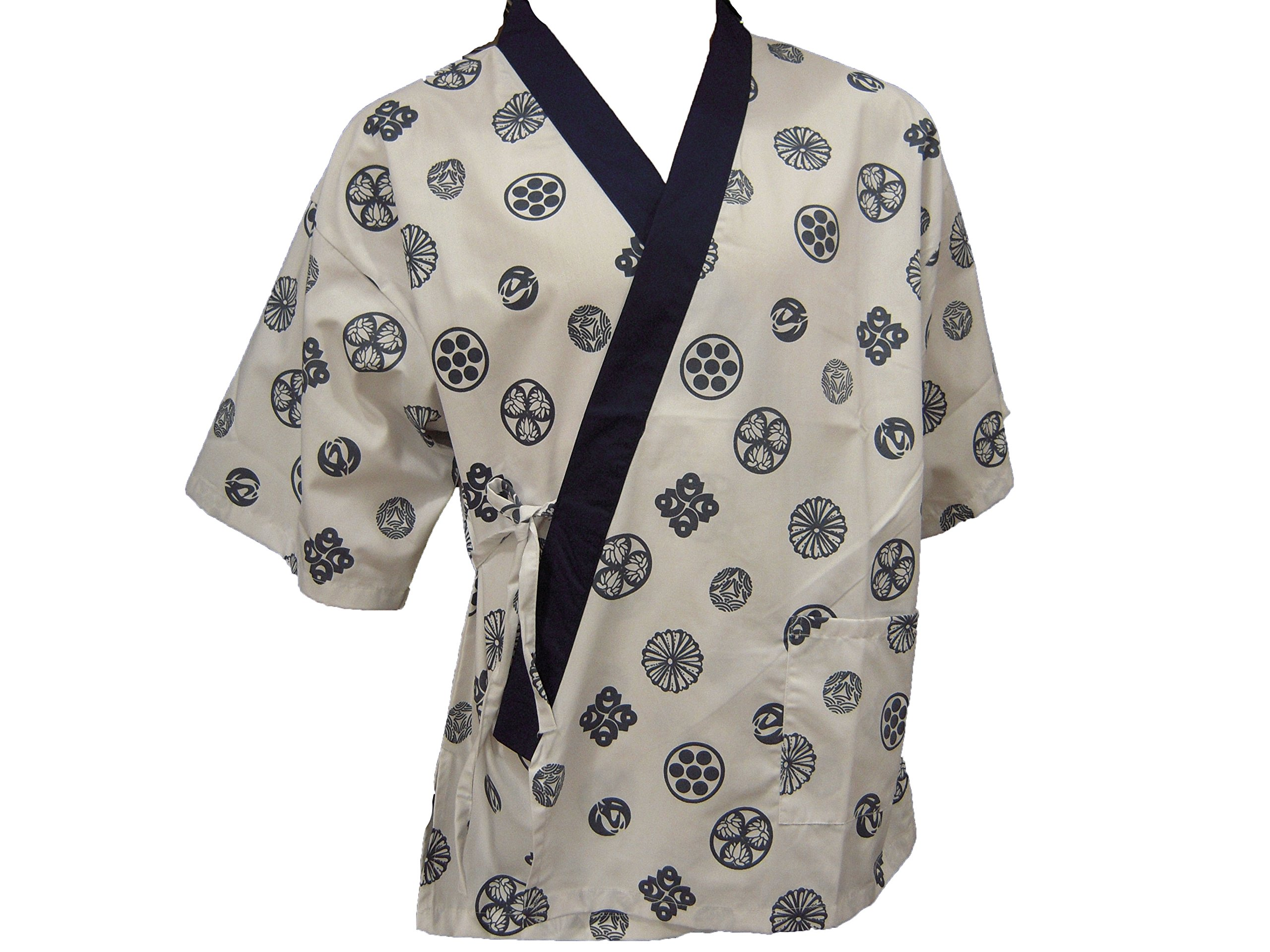 White Chinese Print Sushi Chef Uniform in Large