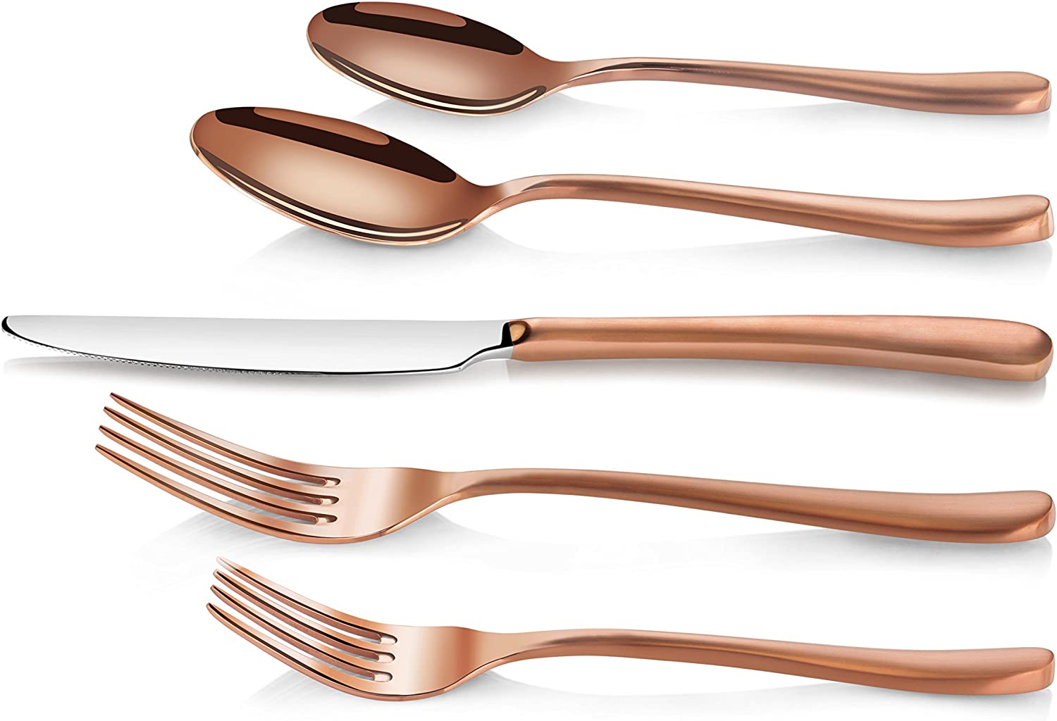 Service for 4 Silver New Star Foodservice Inc. Artaste 56525 Rain II Forged 18//10 Stainless Steel Flatware 20 Piece Set