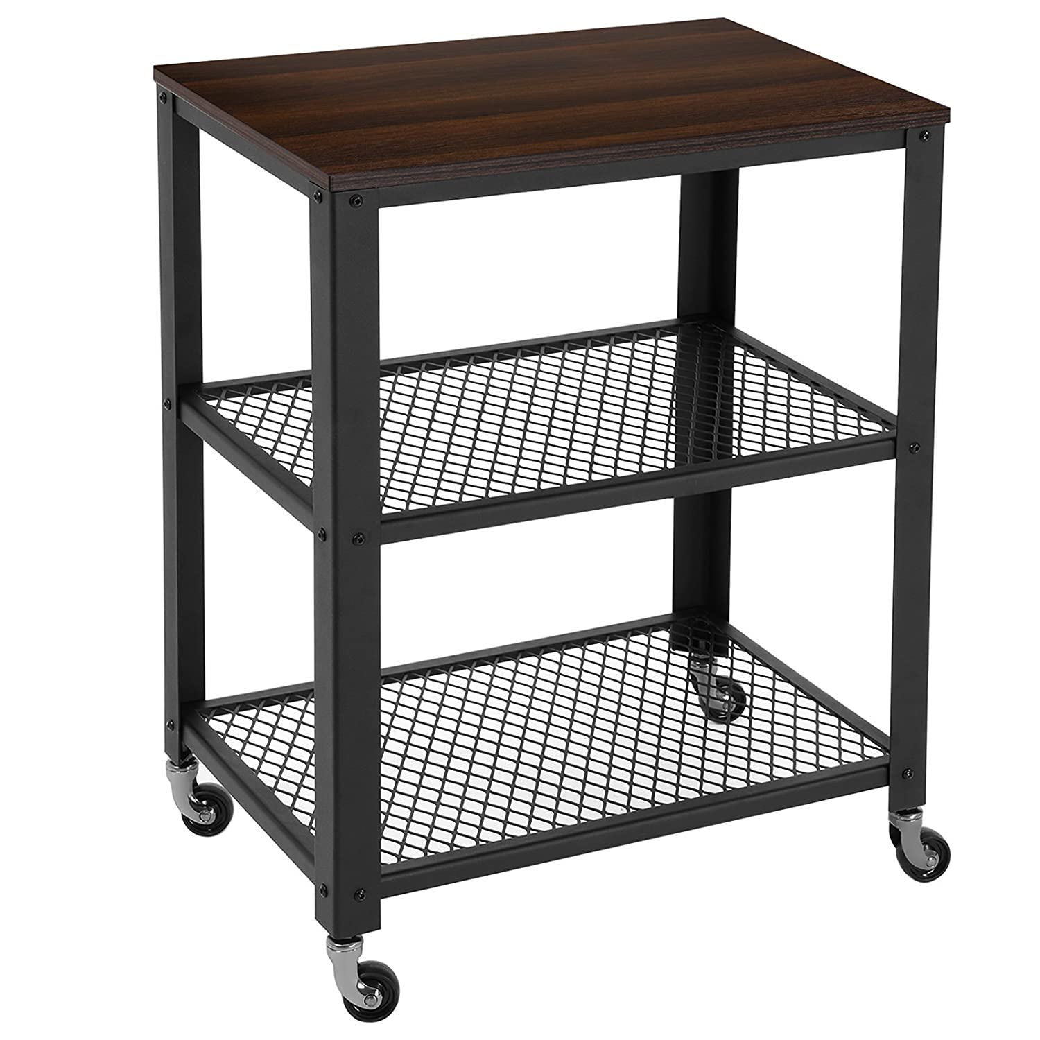SONGMICS Rustic Kitchen Serving Cart Rolling Utility Storage Cart with 3-Tier Shelves Walnut ULRC78K