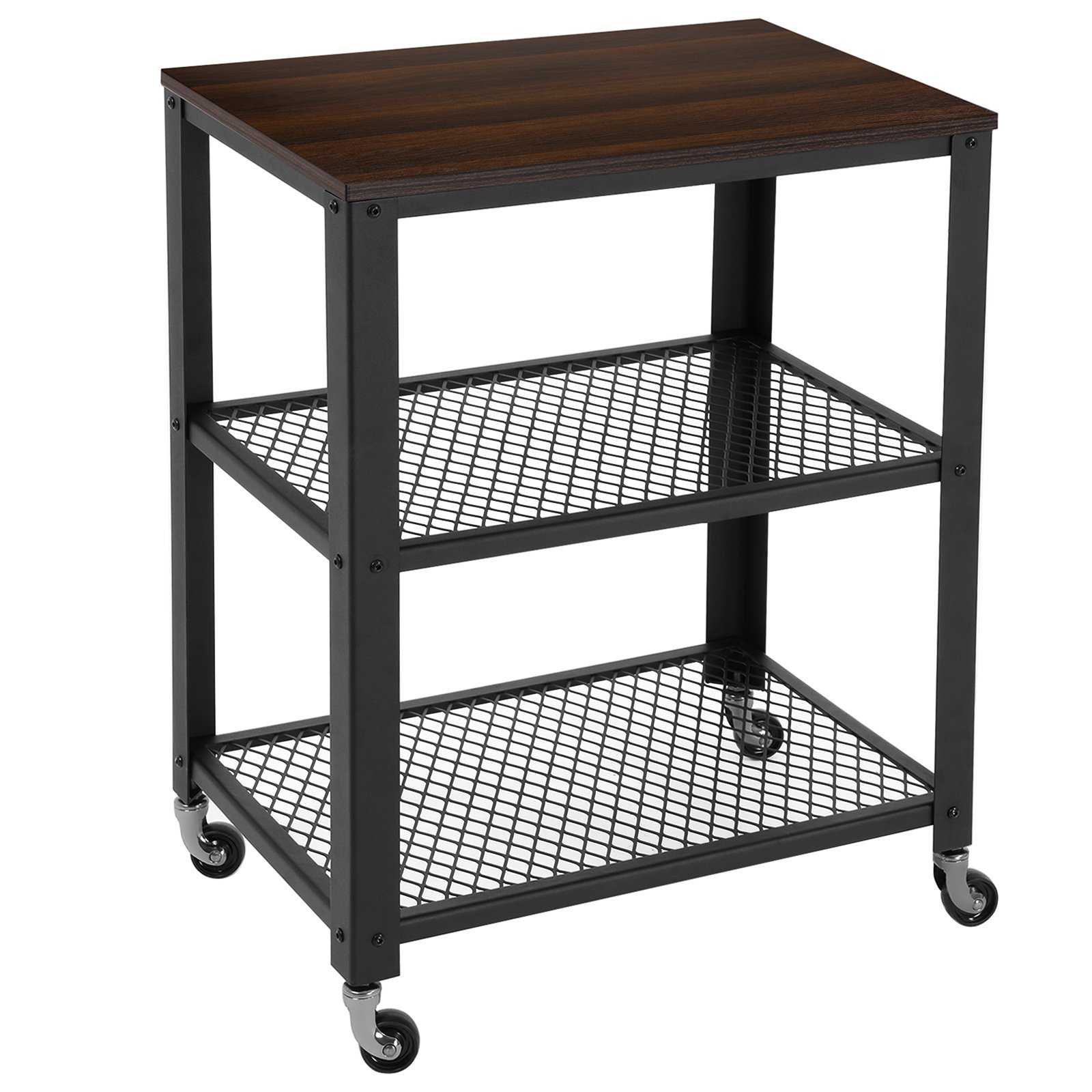 SONGMICS Rustic Kitchen Trolley Cart Rolling Utility Storage Cart with 3-Tier Shelves Walnut ULRC78K