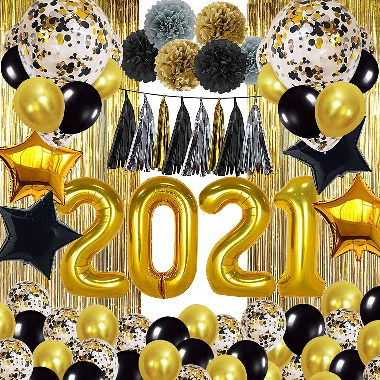 SKYIOL Globos Decoraci/ón Set 2021 Oro Negro 48 Piezas con N/úmero Globo Estrella L/ámina Globo L/átex Confeti Globos Cortina de Lluvia Flores Papel Borla para Fiesta de Cumplea/ños Plata A/ño Nuevo
