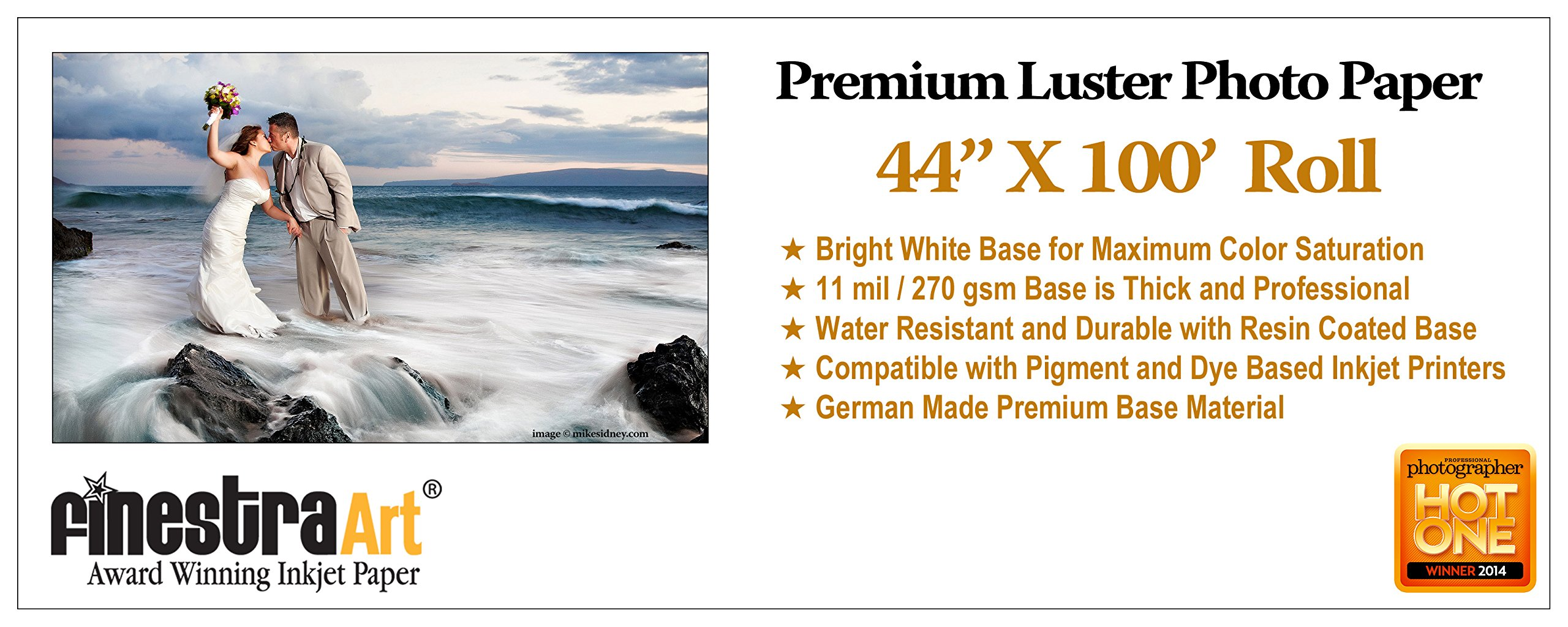 44'' X 100' Roll Premium Luster Inkjet Photo Paper [Office Product]