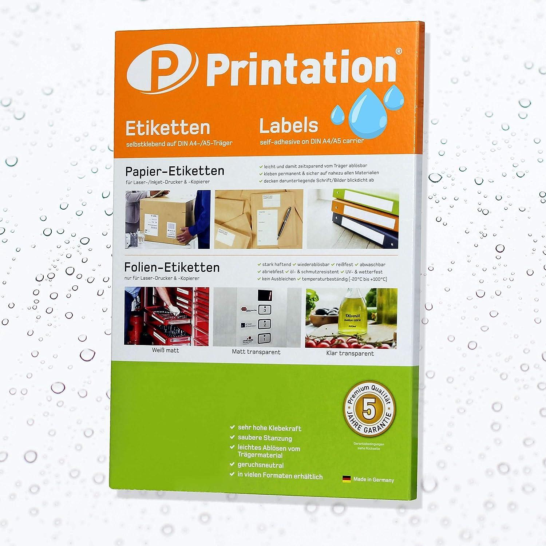 1 Etikett pro Seite 25 Polyester Folienetiketten selbstklebend mit Laser Drucker bedruckbar 25 Selbstklebende Etiketten 210 x 297 mm WETTERFEST transparent auf DIN A4 Bogen