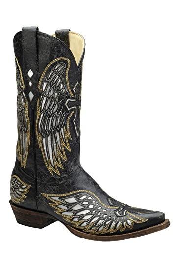 3cf6c60cff3 CORRAL Men's Black Silver Inlay Embroidered Wing Cross Snip Toe Cowboy  Boots A1966