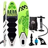 """Aqua Marina 9'9"""" Inflatable Stand Up Paddle Board (6"""" Thick) with Pump Backpack Center Fin Action Camera Mount kit Valve Adaptor Bundle"""