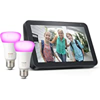 Echo Show 8, Tela de color antracita + Philips Hue White & Color Ambiance Pack de 2 bombillas LED inteligentes, compatible con Bluetooth y Zigbee, no se requiere controlador
