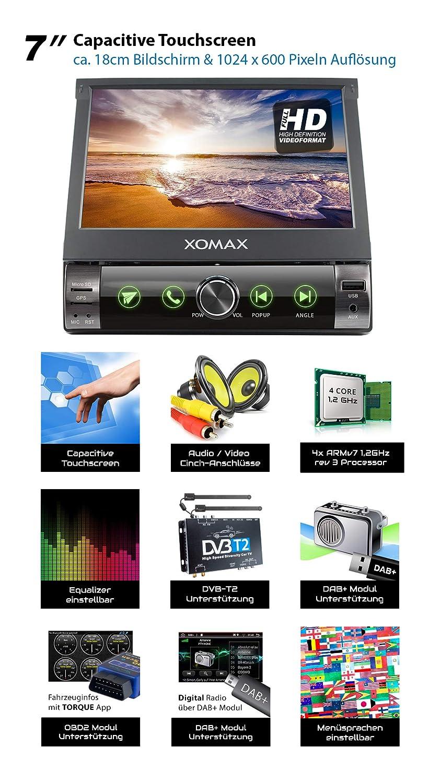 AUXI 1 DIN XOMAX XM-VA760 Radio de Coche con Android 10 I Quad Core 32GB ROM I GPS I Soporte WiFi RDS 4G OBD2 I Bluetooth I 7 Pantalla T/áctil I USB 2GB RAM 3G Dab+ SD